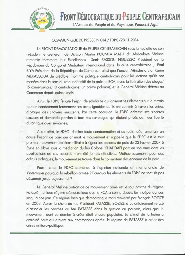 RCA : Première déclaration du chef du FDPC, Abdoulaye Miskine après sa libération