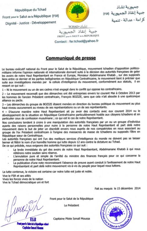 Tchad : Communiqué du FSR