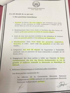 Djibouti: Détails de l'Accord-cadre secret entre le gouvernement et l'opposition.