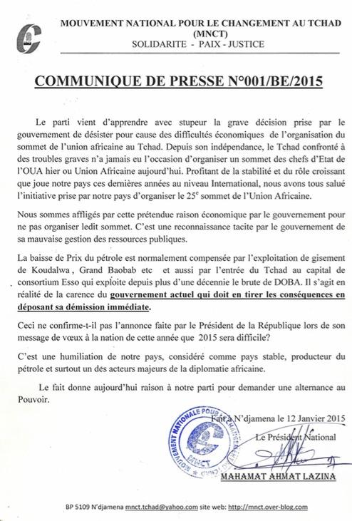 Tchad : Un parti demande la démission du gouvernement