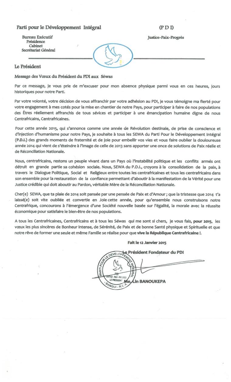 Message des vœux du Président du PDI aux séwas centrafricains