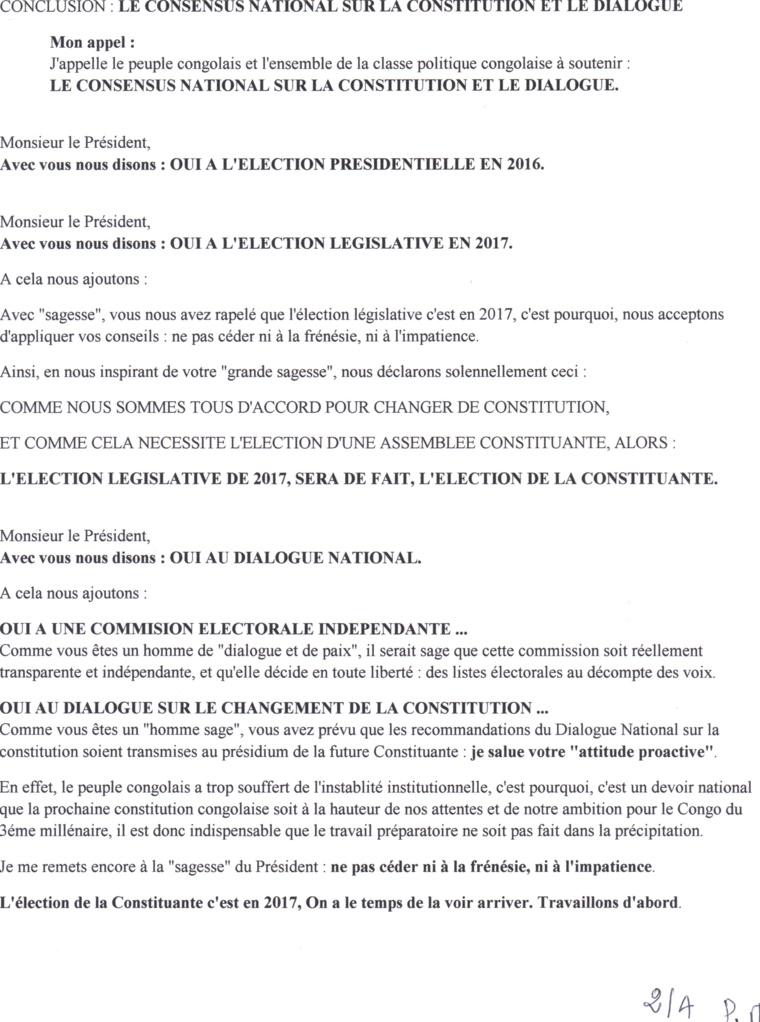 """Le consensus national sur la constitution et le dialogue : Une """"bombe"""" à destination de Mpila"""
