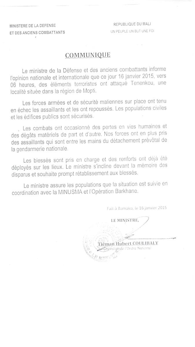 Mali : Communiqué du ministère de La Défense sur l'attaque de Teninkou