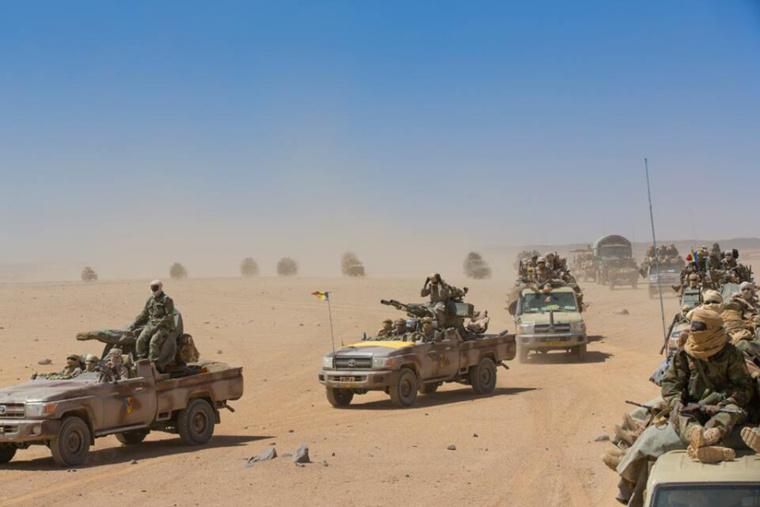 Une colonne de soldats tchadiens au Mali. Crédit photo : Sources