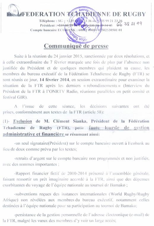 Tchad : Le Président de la Fédération de Rugby exclu pour faute grave