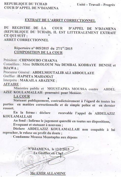 Tchad : L'arrêt de la Cour D'Appel de N'Djamena relaxant Abdelaziz Koullamalah