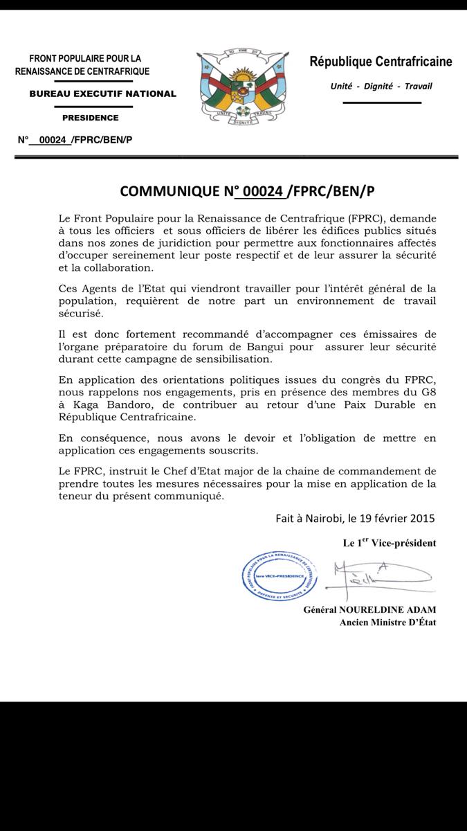 RCA : Nourredine Adam demande aux officiers de libérer les édifices publics