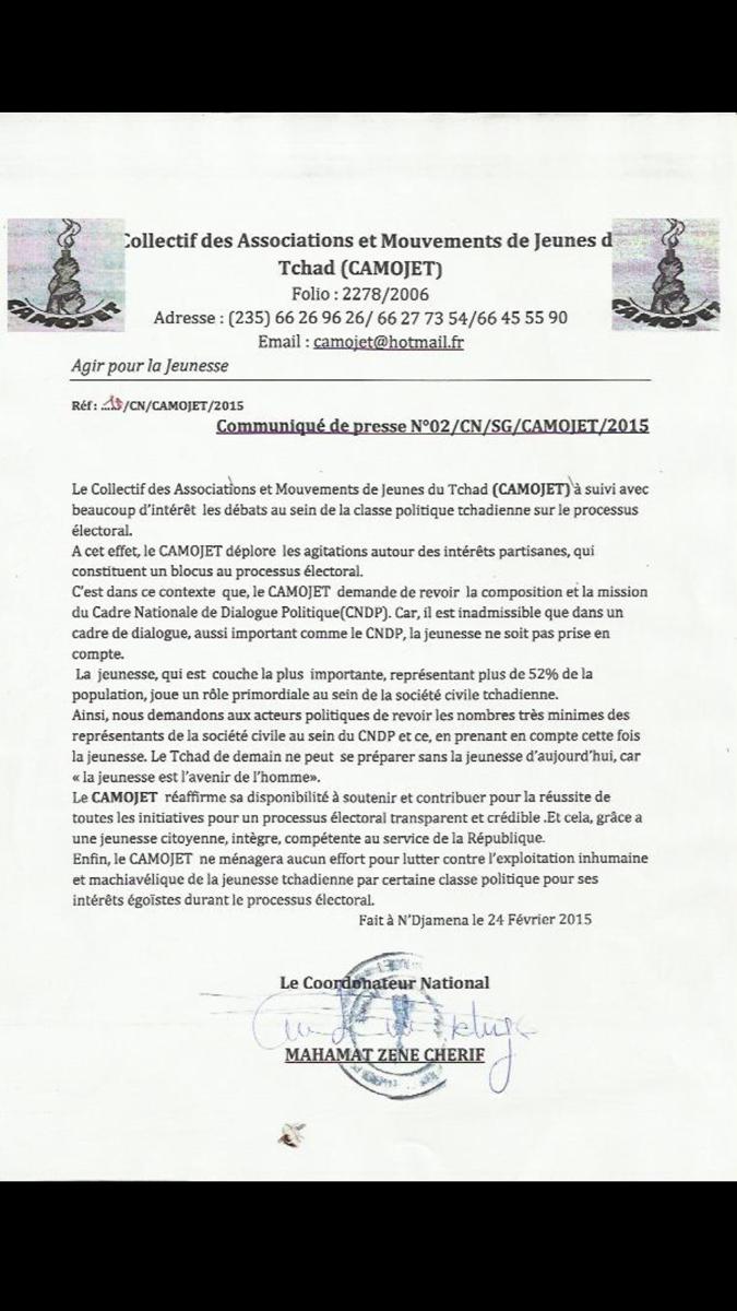 Tchad : La société civile exige l'implication de la jeunesse