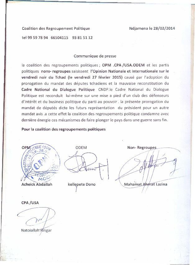 """Tchad : La coalition des regroupements politiques condamne le """"vendredi noir"""""""