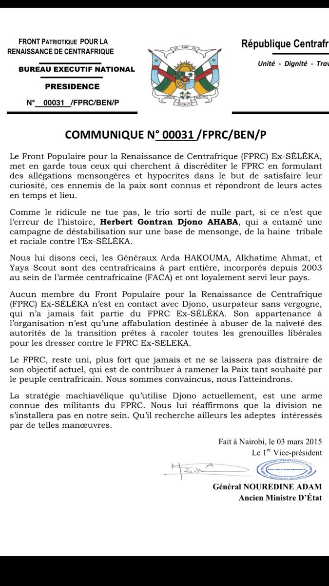 RCA : Le FPRC met en garde contre les tentatives de discrédit du mouvement