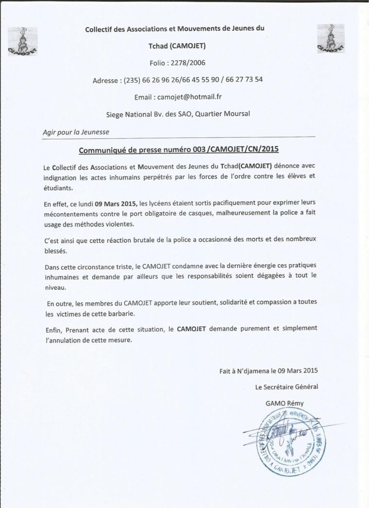 Tchad : Le CAMOJET dénonce les violences policières