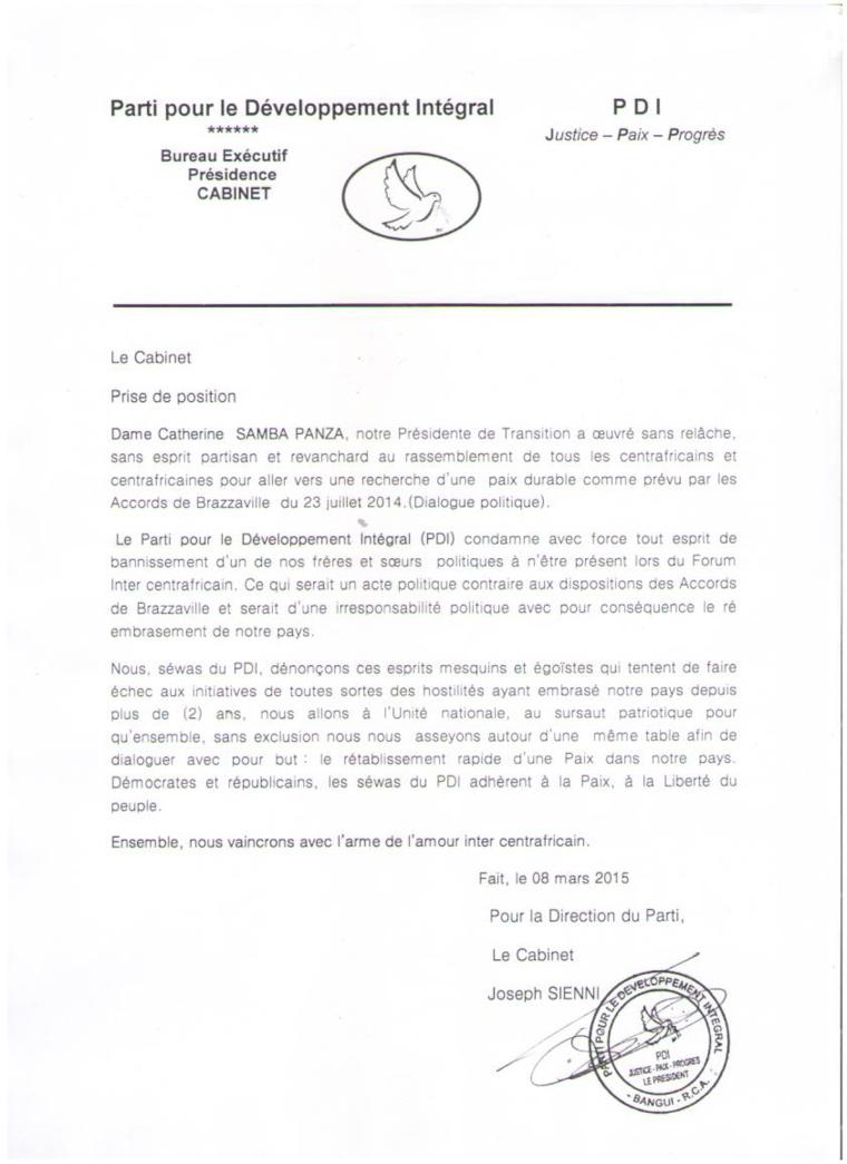 """RCA : Le PDI dénonce """"les esprits qui veulent faire échec aux initiatives"""" de paix"""