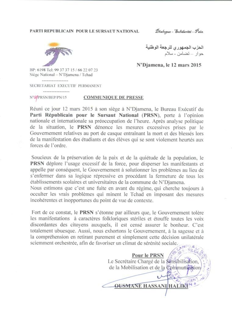 Tchad : Le PRSN déplore l'usage de la force par la police