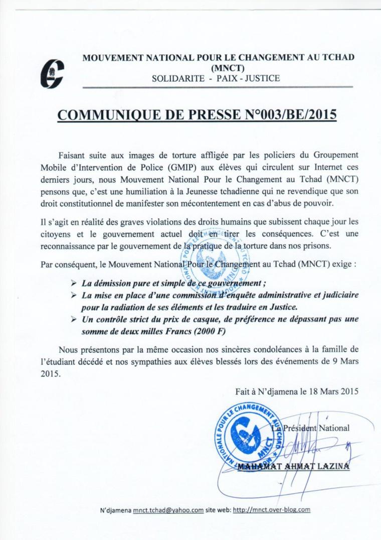 Tchad : Le MNCT demande la démission du gouvernement