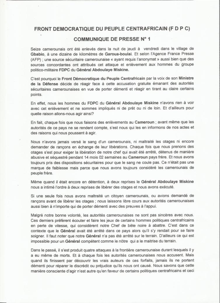 Cameroun/RCA : Le FDPC dément formellement l'enlèvement de 16 personnes
