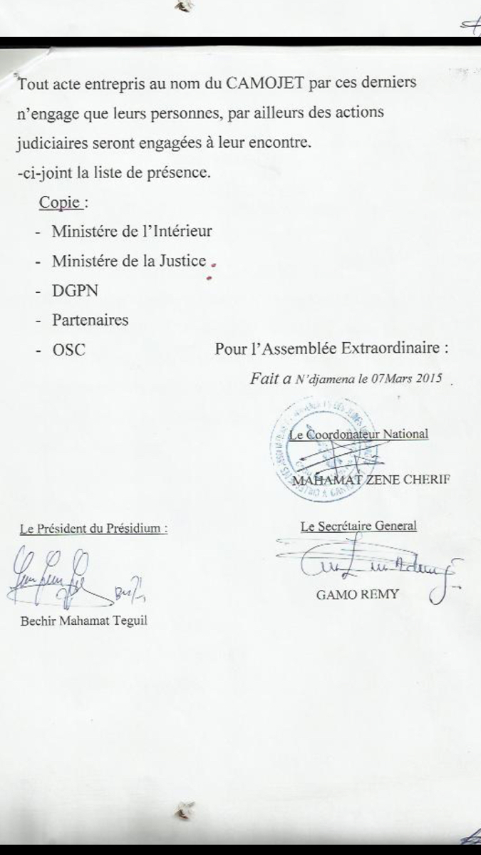 """Tchad : Dix membres du CAMOJET exclus pour """"faute grave"""""""