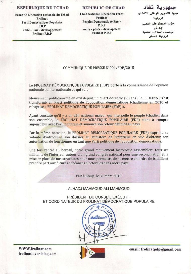 """Tchad : Le """"FROLINAT Démocratique Populaire"""" envisage son avenir politique"""