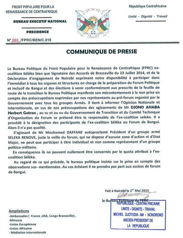Forum de Bangui : L'ex-Président Djotodia revendique le quota attribué à l'ex-Séléka