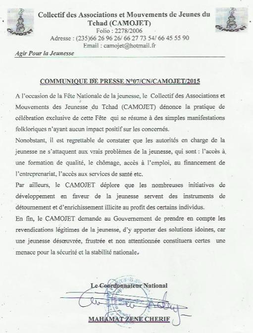 Tchad : Le CAMOJET agacé par les célébrations folkloriques