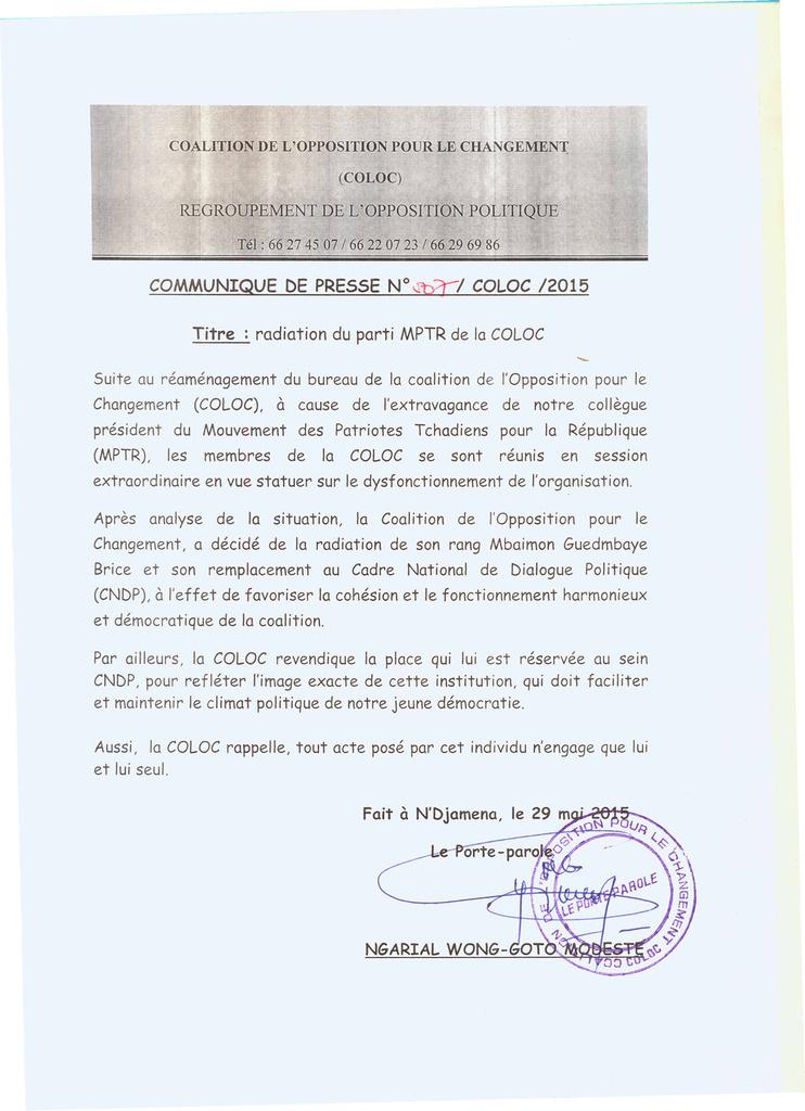 Tchad : Radiation du parti MPTR de la COLOC