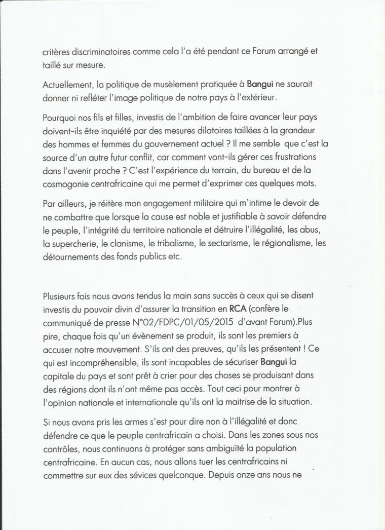 """Centrafrique : Le Président du FDPC hausse le ton après le Forum """"raté"""" de Bangui"""