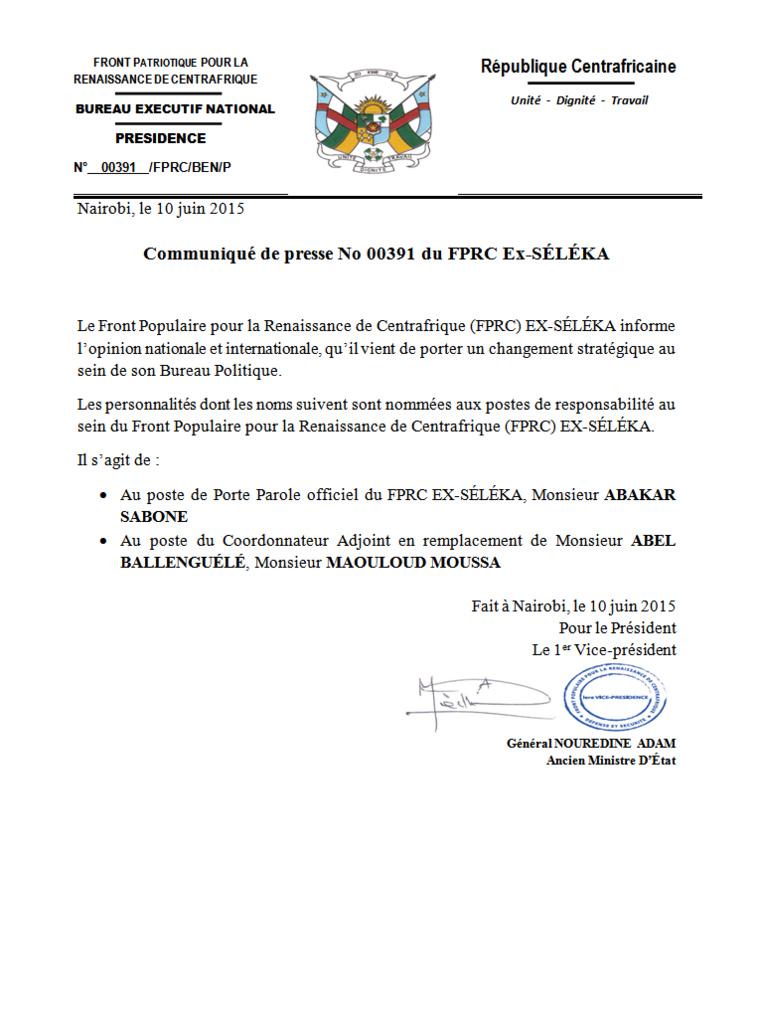 Centrafrique: L'ancien ministre Abakar Saboun nommé porte parole de l'Ex-Séléka