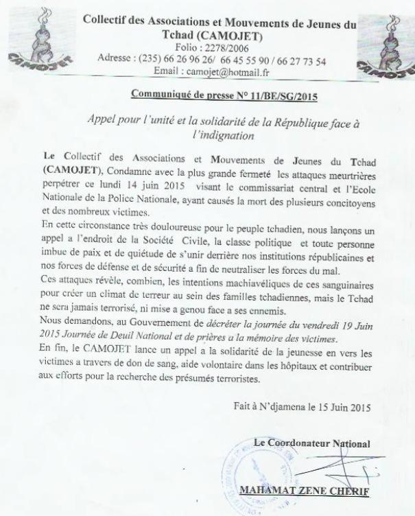 Boko Haram : Le Tchad ne sera jamais terrorisé, assure le CAMOJET