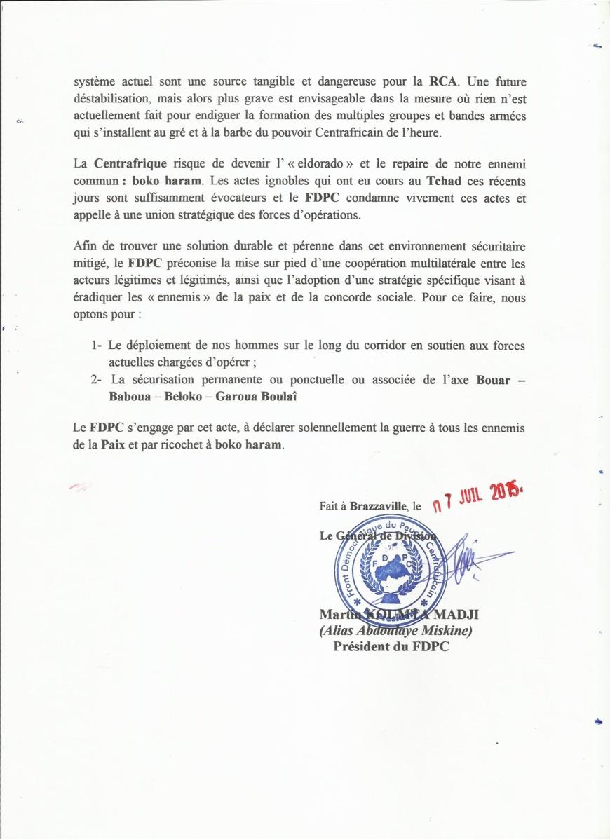 RCA : Le FDPC déclare la guerre au terrorisme et annonce un déploiement aux frontières