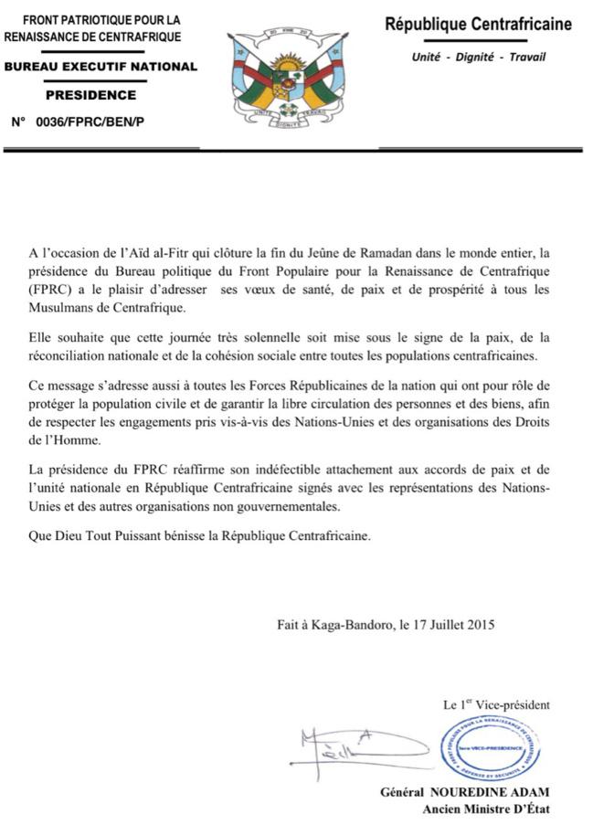 Centrafrique : Le FPRC réaffirme son attachement aux accords de paix