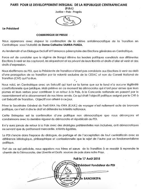 """Centrafrique: Le PDI dénonce les """"dérives anti-démocratiques"""" de la Présidente"""