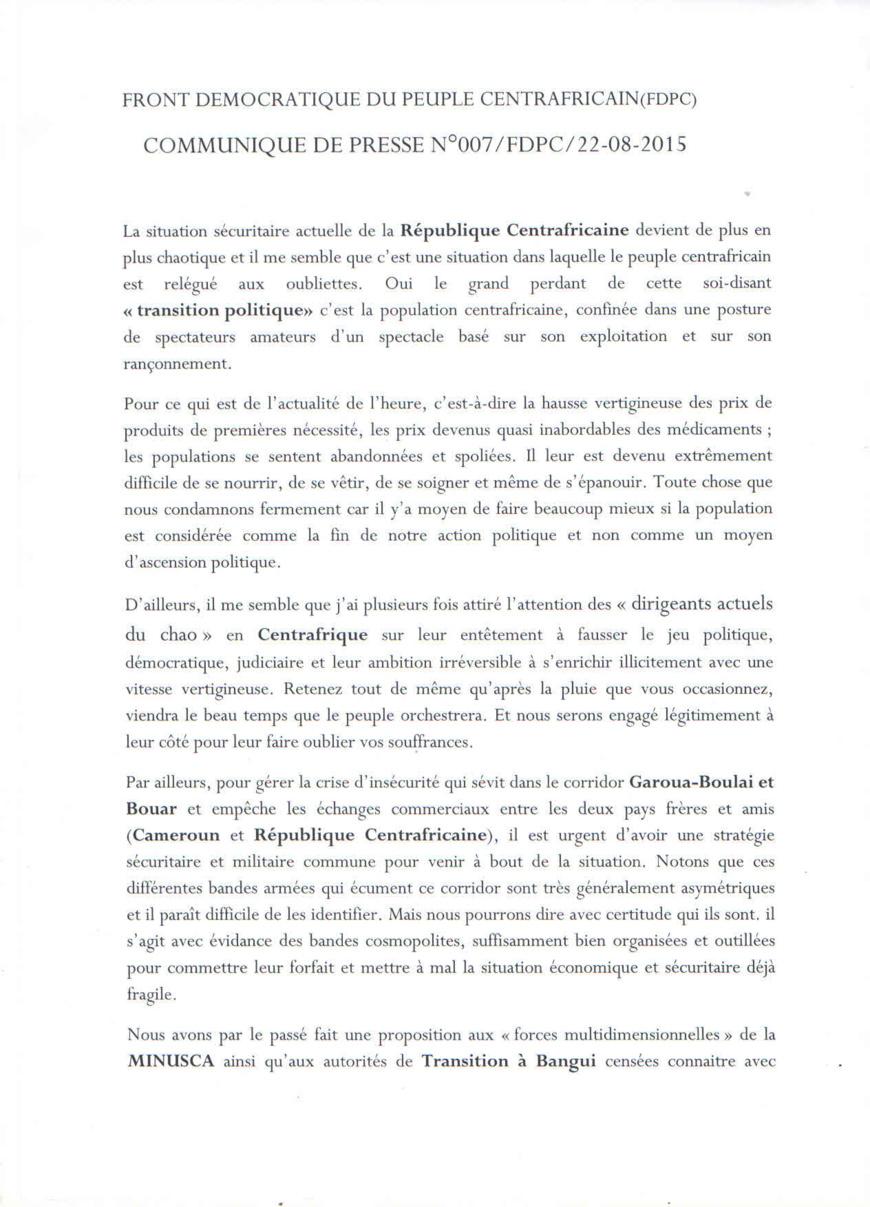 """La population centrafricaine """"grand perdant de la transition politique"""", assure le FPDC"""