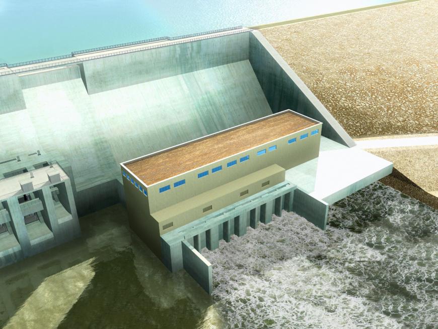 La maquette de l'usine de pied du projet hydroélectrique.