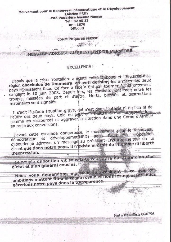 DJIBOUTI : Le FAUX document du régime