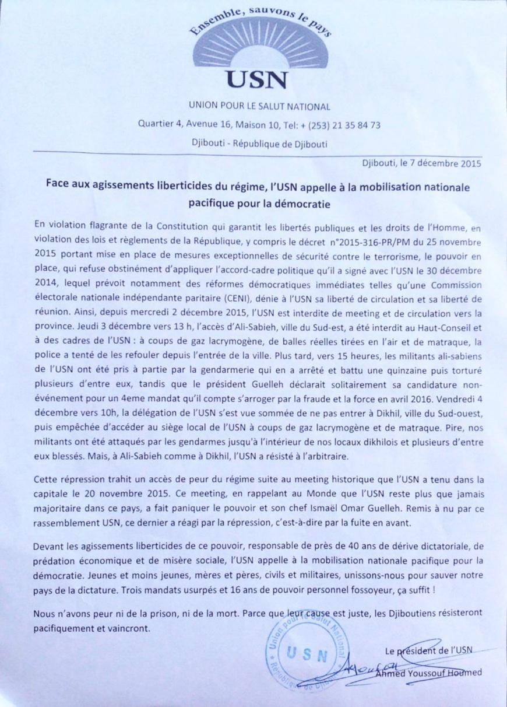DJIBOUTI : L'opposition appelle à la mobilisation pour dénoncer les violations multiformes des droits humains