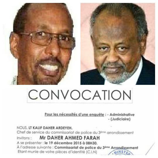 DJIBOUTI : Les vraies raisons de la convocation de Daher Ahmed Farah à la police