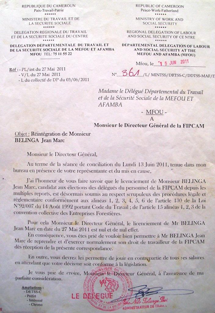 Cameroun: Le directeur général de FIPCAM refuse de respecter une décision du ministère du travail