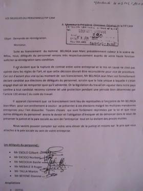 CAMEROUN : FIPCAM, les délégués du personnel s'opposent à la décision du directeur général.