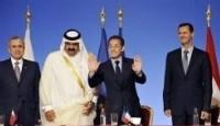 Conférence de presse des présidents libanais Michel Sleimane (g), français Nicolas sarkozy, syrien Bachar al-Assad et de l'émir du Qatar Ahmad Ben Khalifa Al-Thani, le 12 juillet 2008 à Paris