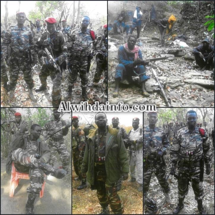 Des combattants du FDPC entourés de leur chef, Abdoulaye Miskine.