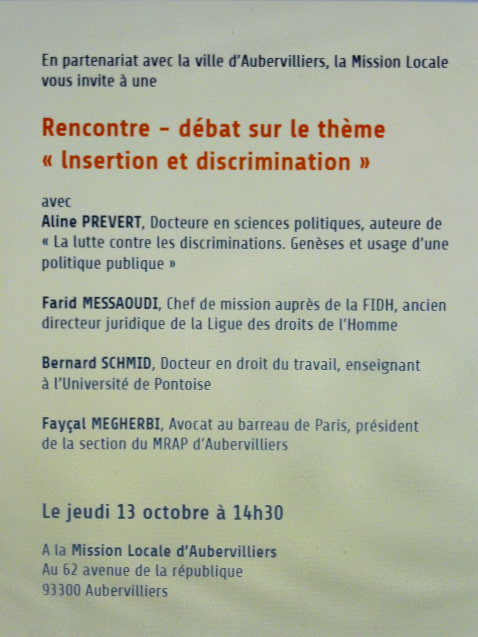 Rencontre-débat : Insertion et discrimination