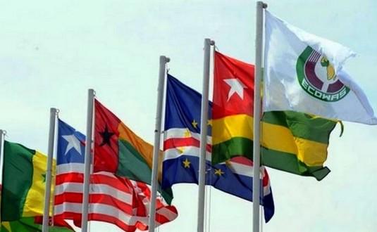Des drapeaux de pays membres de la CEDEAO. Crédits : Sources