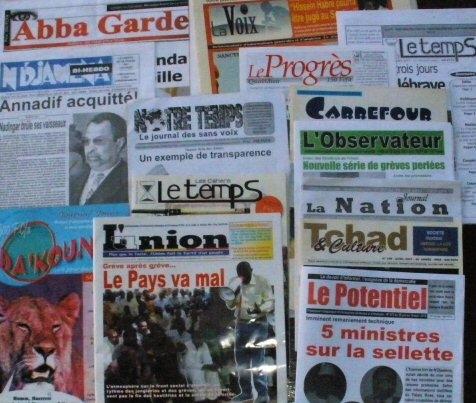 Des journaux de la presse tchadienne. Crédits photo : © journaldutchad.com
