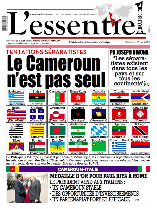 A la une de L'Essentiel du Cameroun : Tentatives séparatistes, le pays n'est pas seul