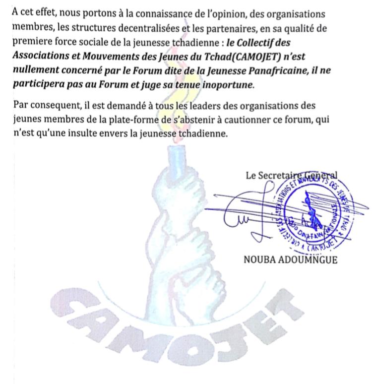 Tchad : Le CAMOJET plaide la cause de la jeunesse et interpelle le gouvernement