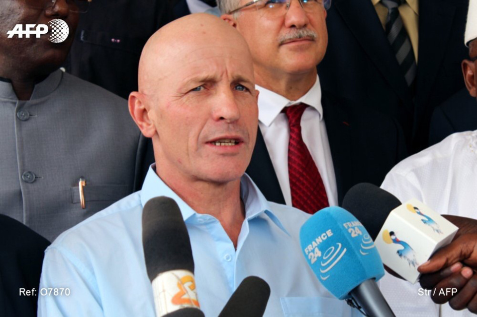 L'ex-otage français libéré samedi au Soudan après son enlèvement en mars au Tchad est arrivé lundi à N'Djamena. Photo : AFP