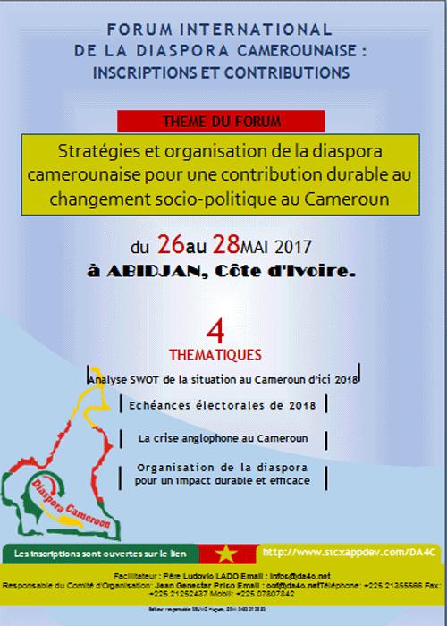Le forum international de la diaspora camerounaise se tiendra plutôt à Abidjan du 26 au 27 mai