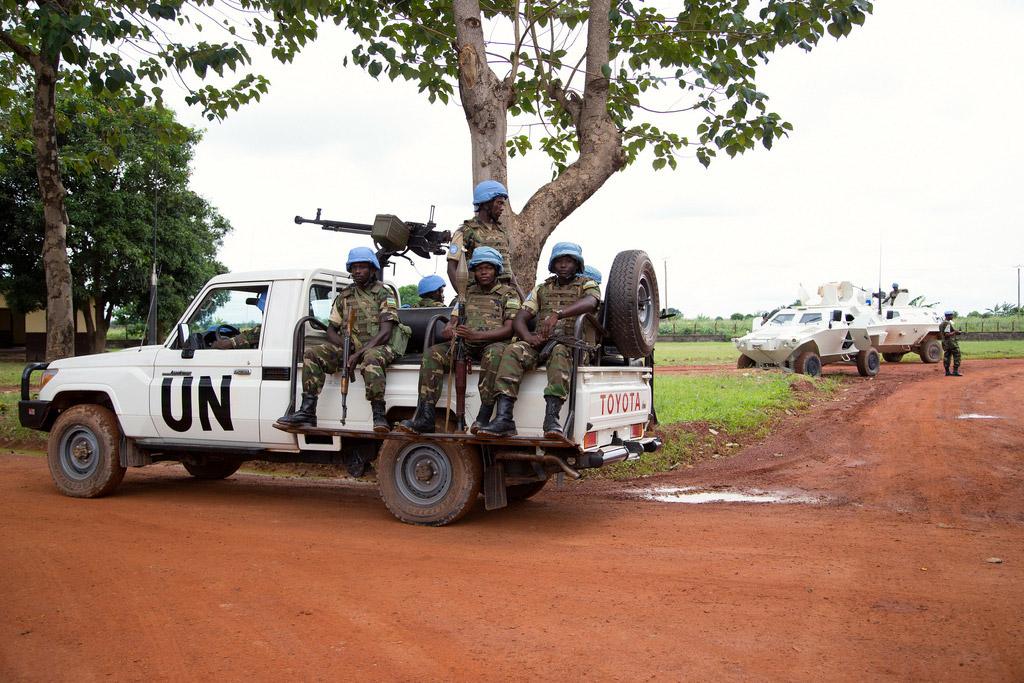 Un véhicule de la MINUSCA en Centrafrique. MINUSCA