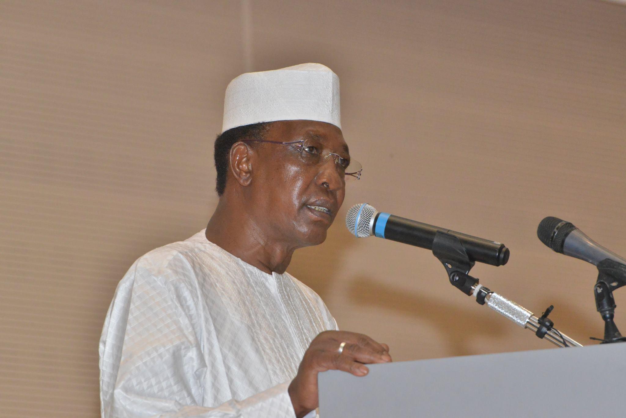 Idriss Déby lors de l'ouverture du forum panafricain de la jeunesse, ce jeudi à N'Djamena.