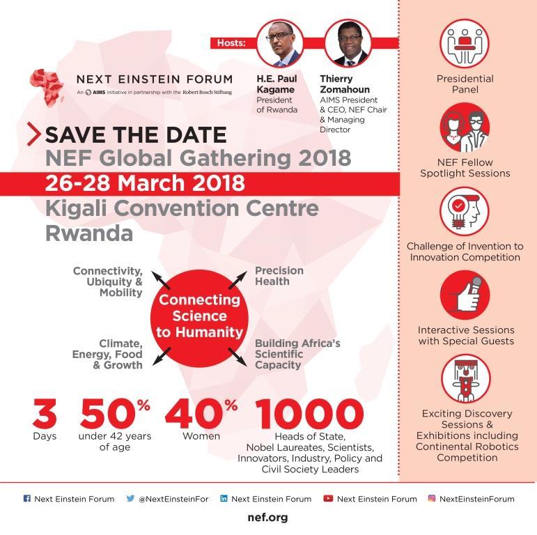 Kigali : Compte à rebours pour la prochaine Rencontre Internationale du Next Einstein Forum Einstein 2018