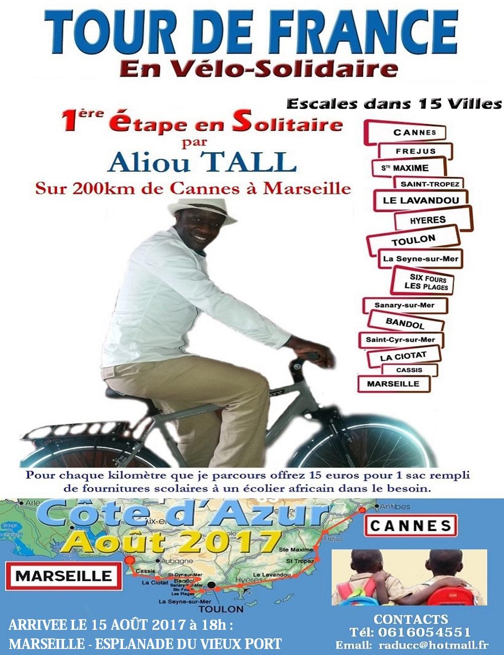 Tour de France en vélo-solidaire : Pour la scolarisation des enfants africains nécessiteux